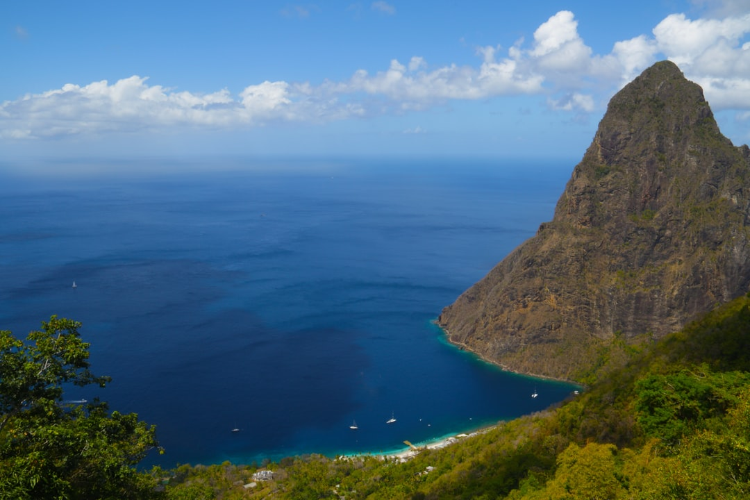This is one of the two Pitons, huge volcanic plugs on the island of St. Lucia, a tourist destination in the Caribbean.  I trekked to the top of a nature reserve to be rewarded by this stunning view of one of the bays next to the Pitons.