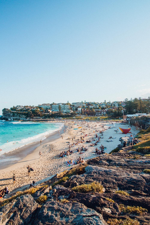 people near beach under clear blue sky