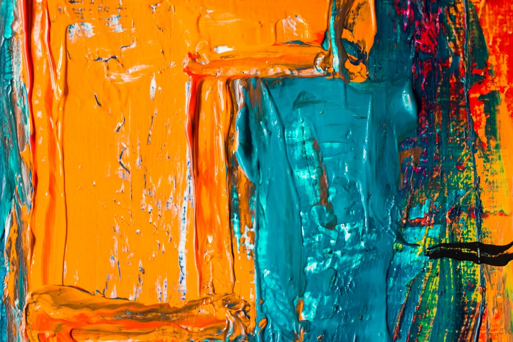 teal and orange painting