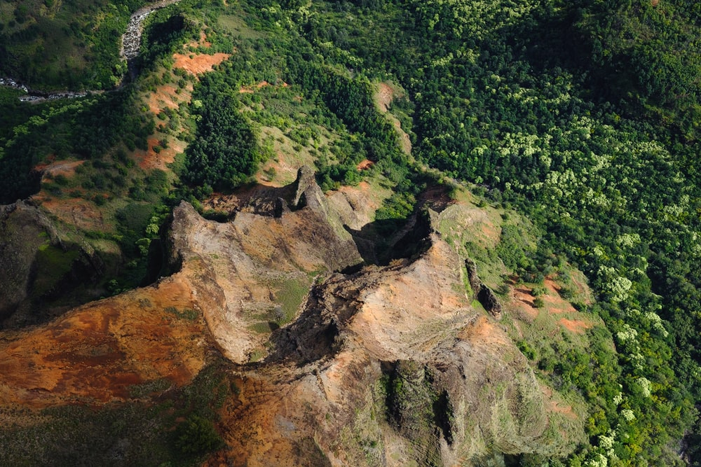aerial view of mountains surrounded by trees