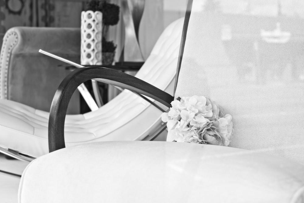 bouquet on armchair