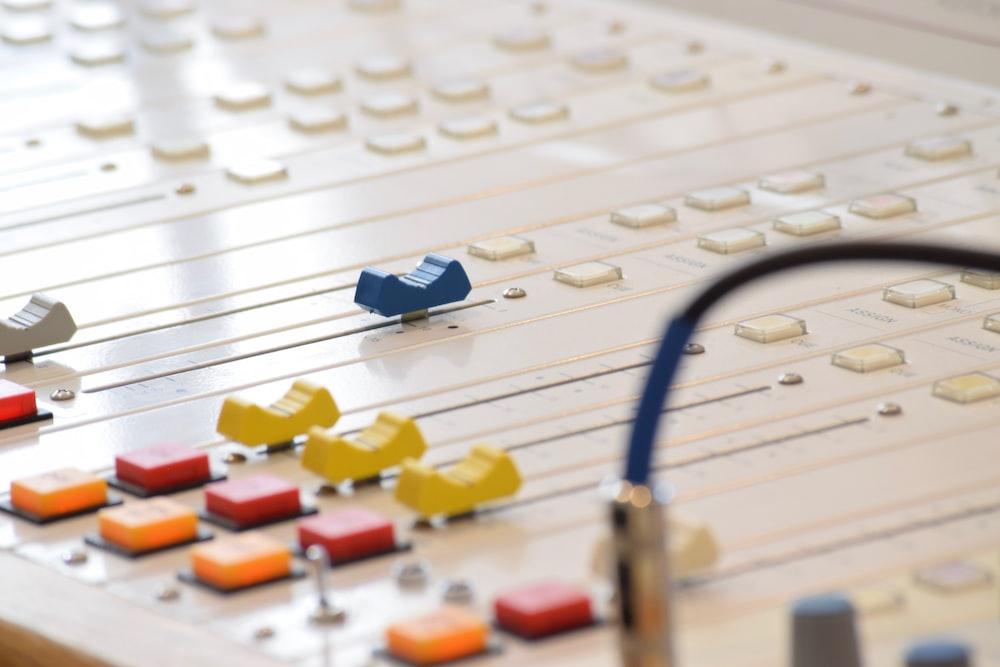 white audio mixer on focus photo