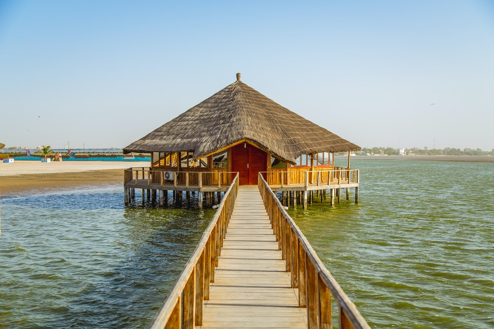 brown wooden shed surrounded body of water