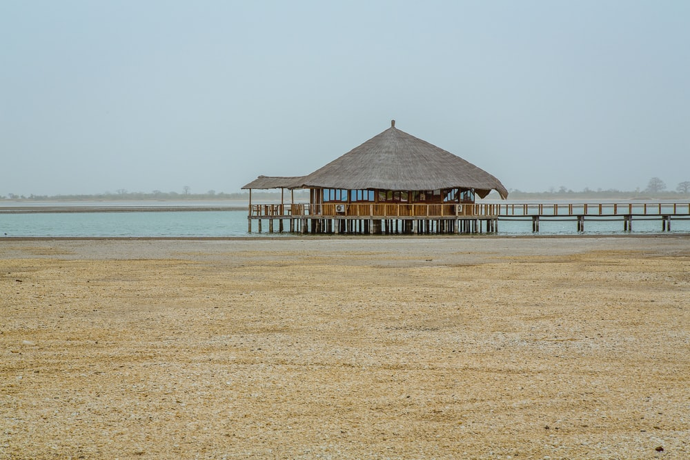 brown wooden hut above water near shore at daytime