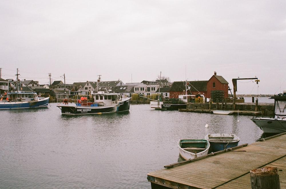 two white and blue jon boat docked on boardwalk