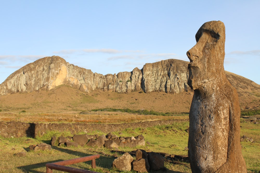 landscape photography of Moai