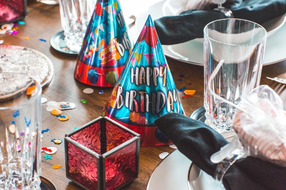 blue and maroon Happy Birthday hat