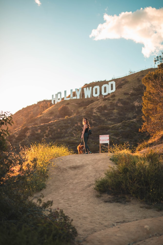 Your voice in the film industry in general will make an impact. Image description: Woman on path in front of Hollywood sign.