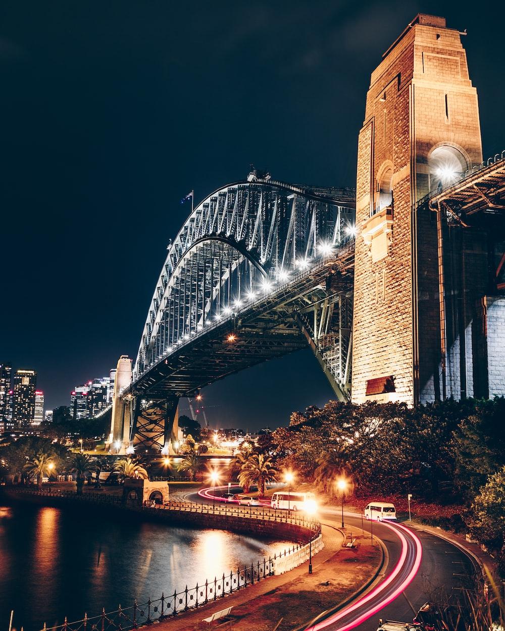 black and brown concrete bridge during night time