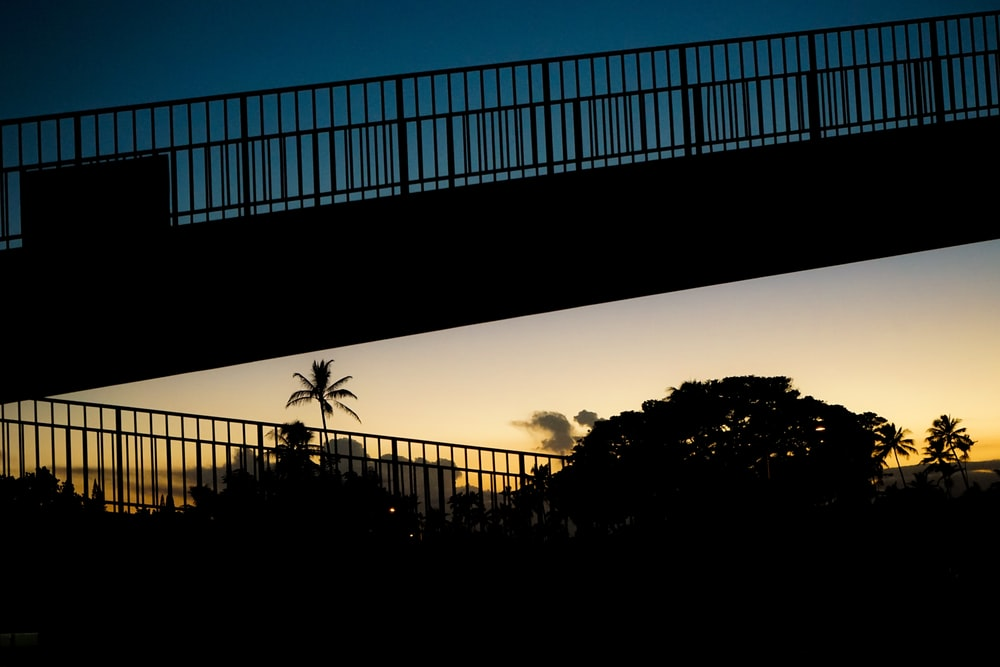 silhouette of bridge during golden hour