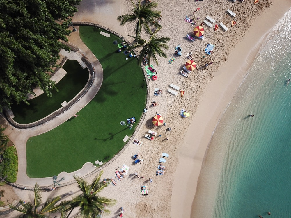 aerial photo of people near body of water and golf course during daytime