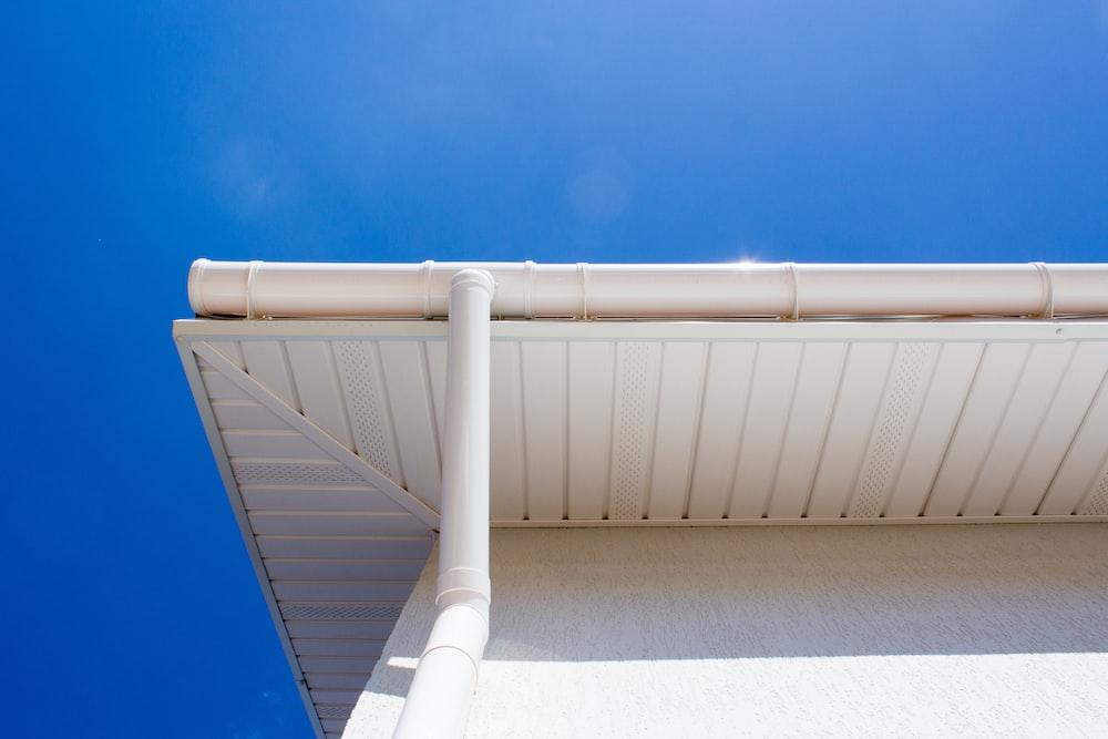white PVC tube under blue sky