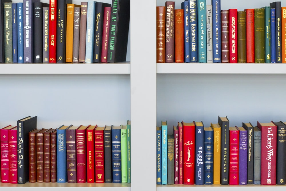 assorted-title book lot placed on white wooden shelf