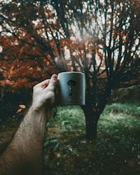 person holding mug