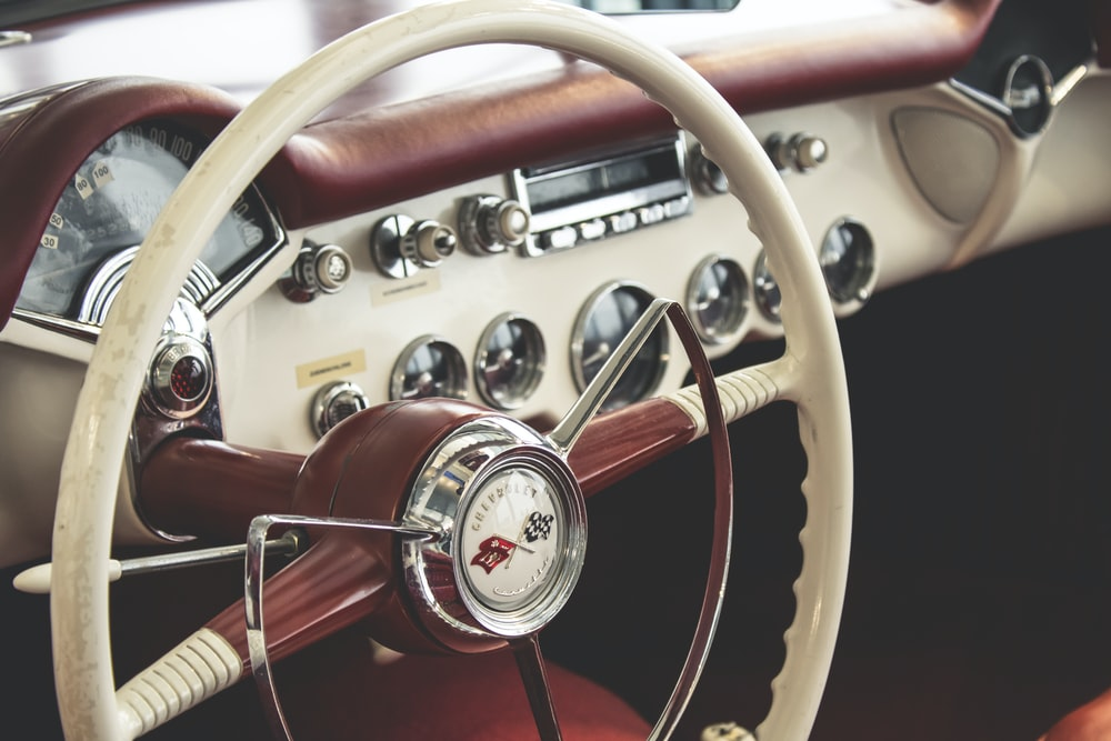 selective focus photography steering wheel