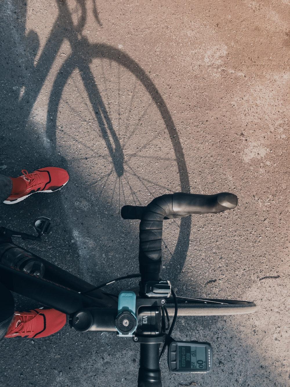 person rides road bike