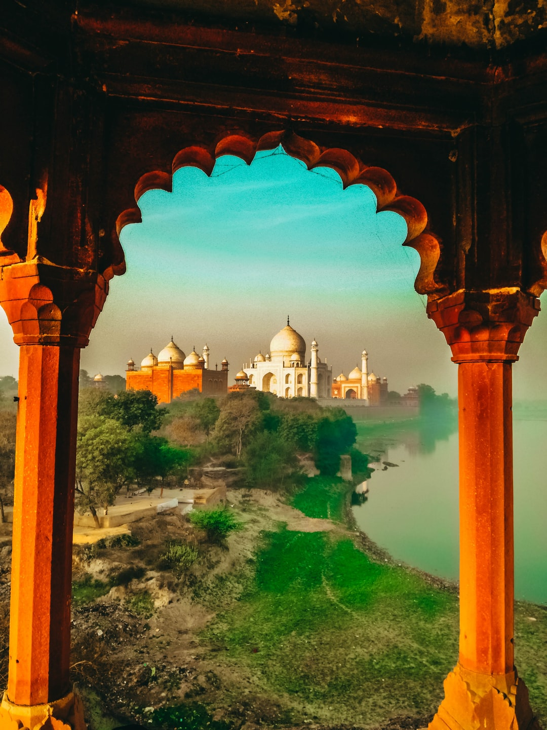 This picture was taken from a hidden place near Taj Mahal, that just the locals know, and have an amazing view and different from all the pictures you will find on the internet.