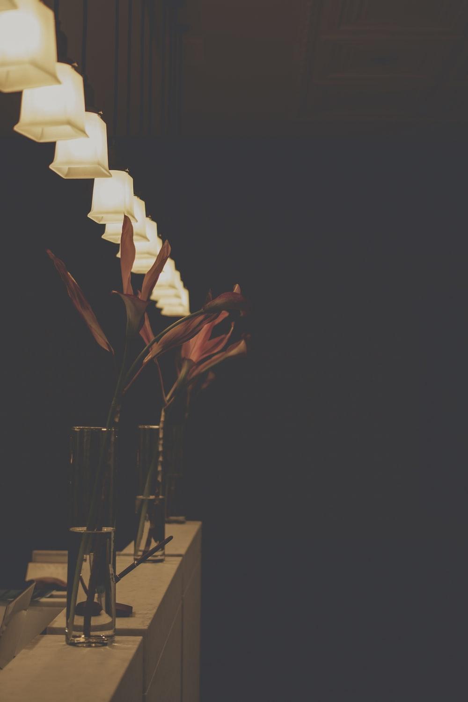 orange flower with glass vase on table