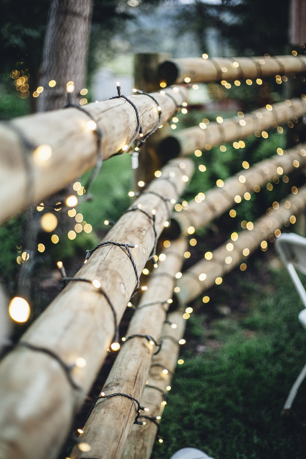 brown bamboo fence with string lights