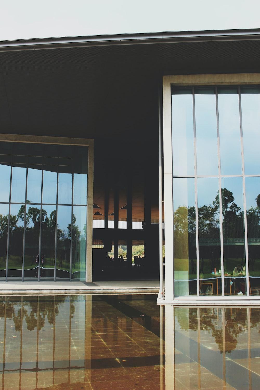 grey steel door with glass panel