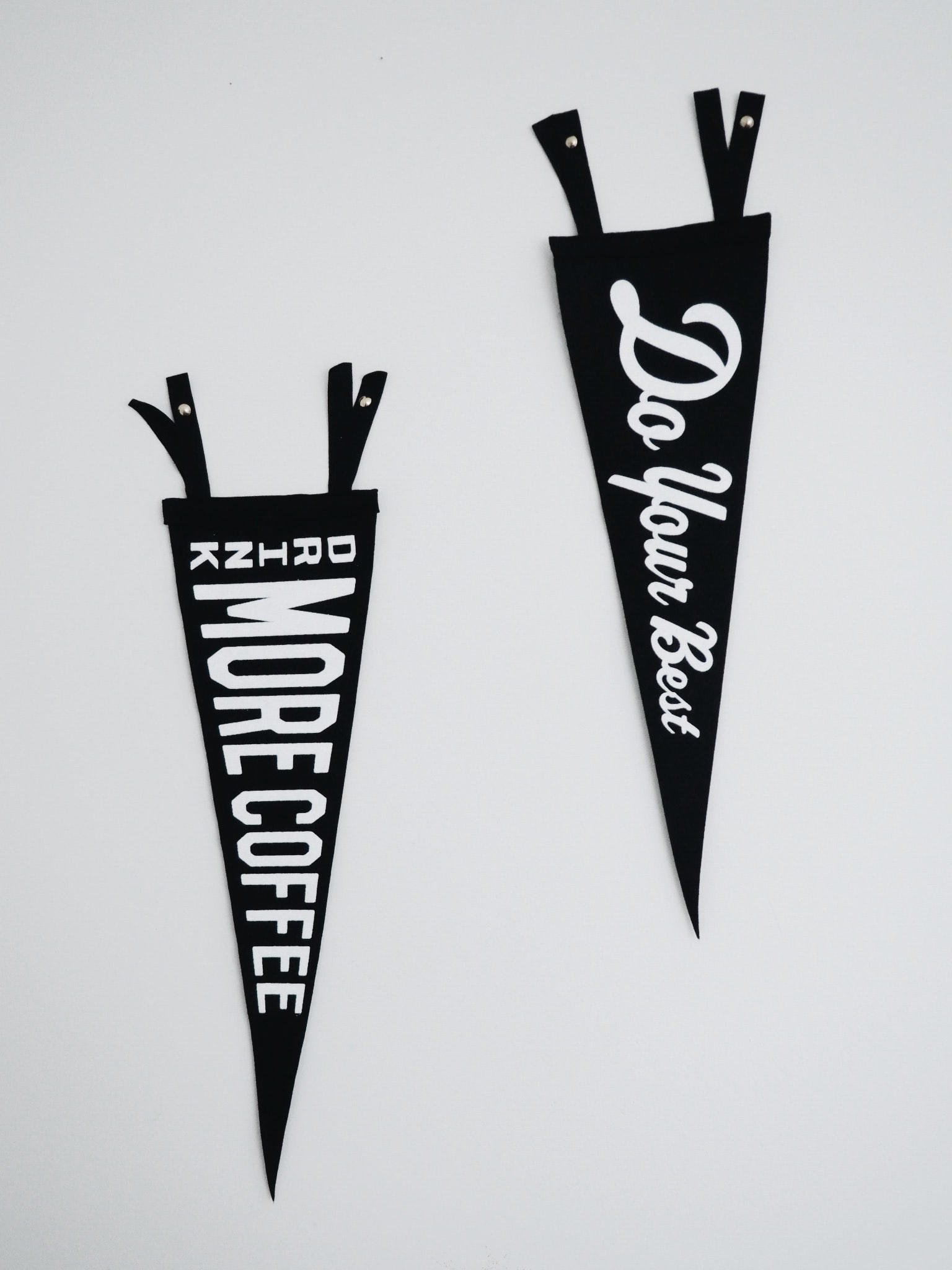 two black-and-white banners with texts