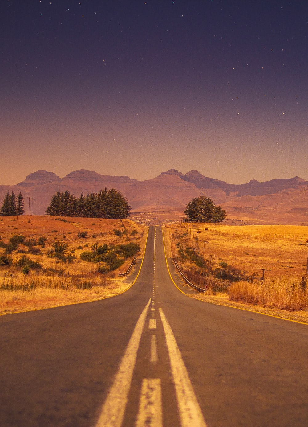 view of a long empty road