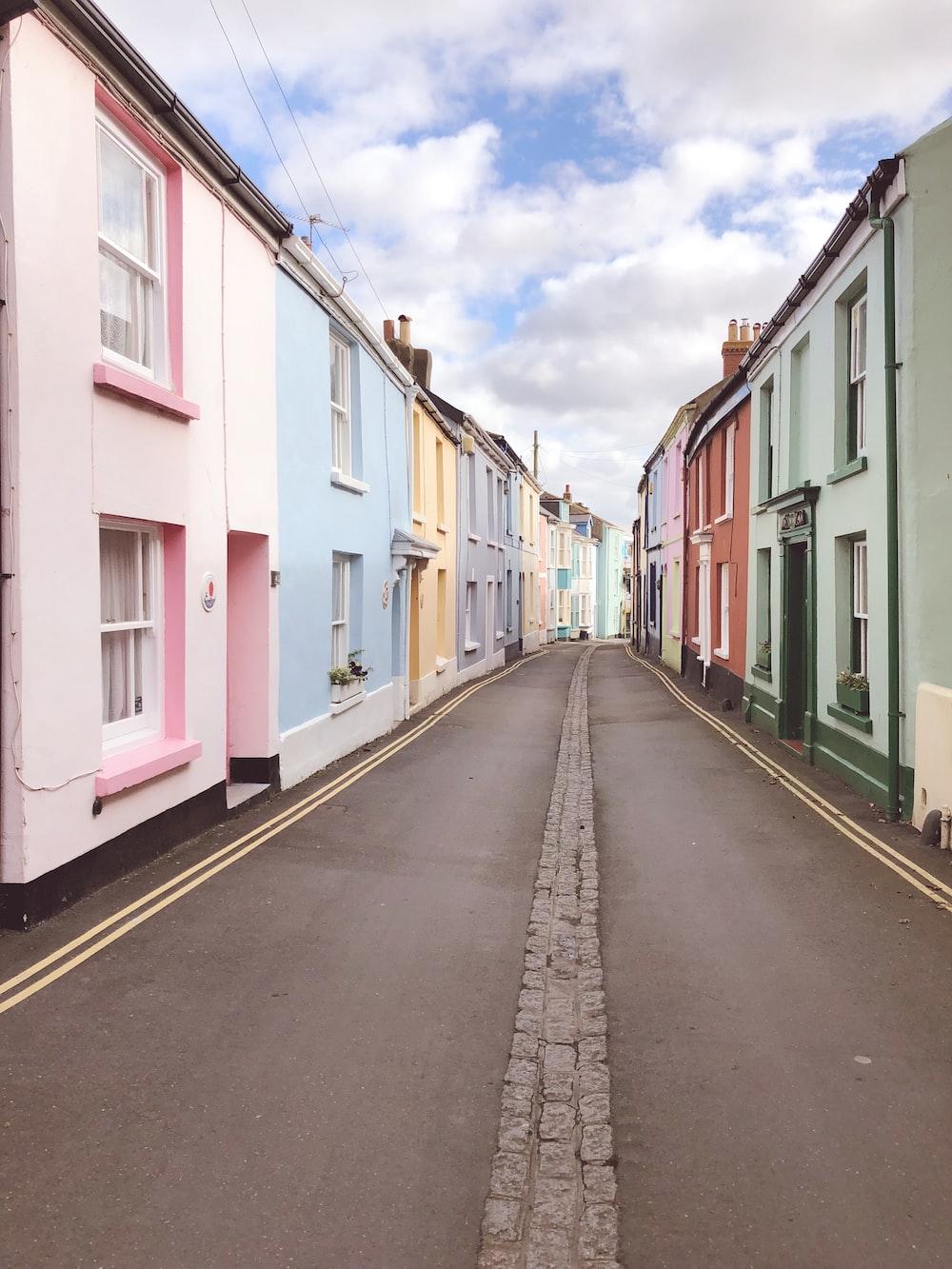 assorted-color concrete houses
