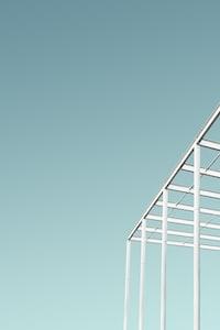 white building trusses