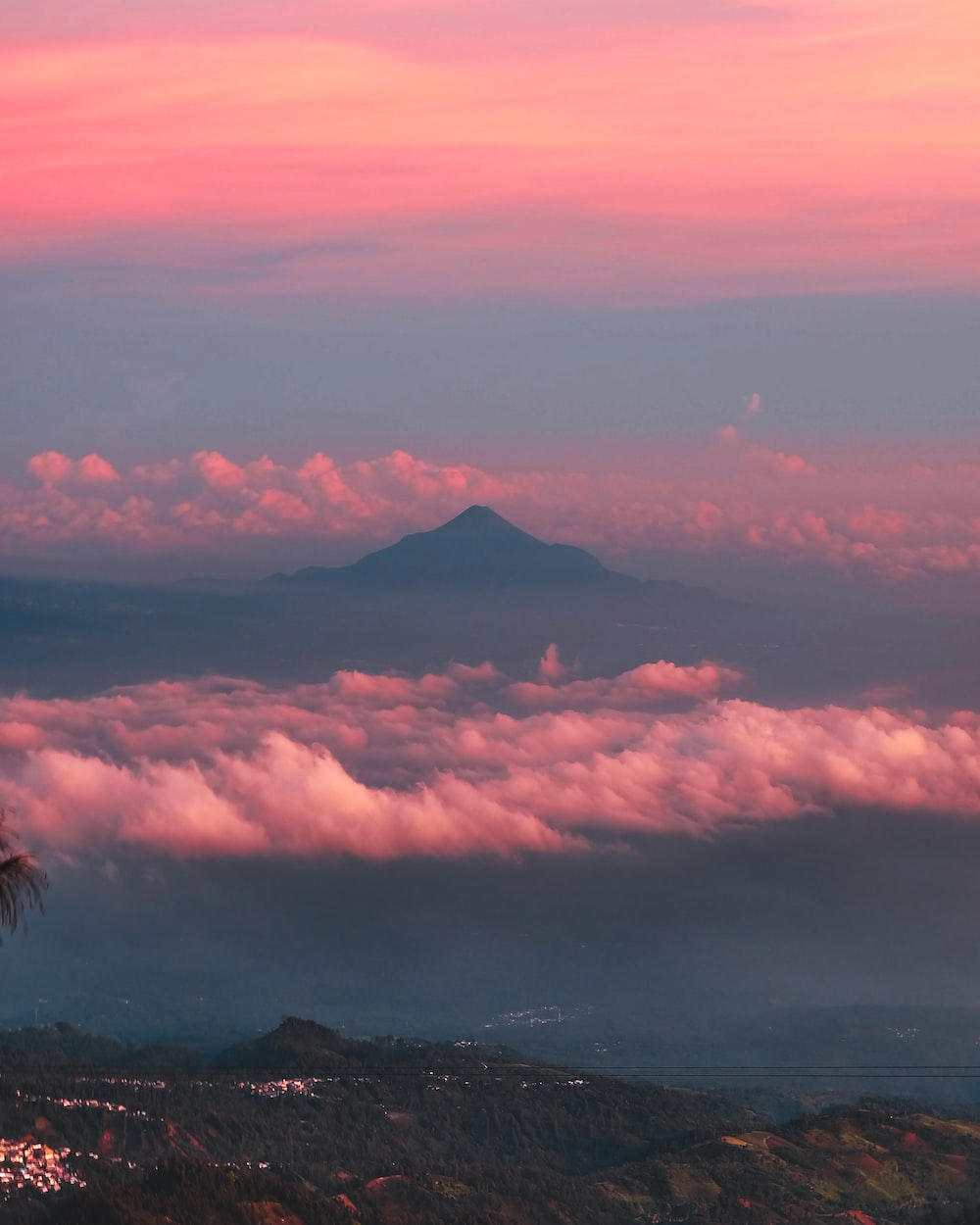 sea of clouds during golden hour