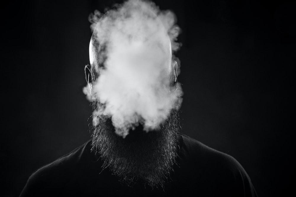 man making smoke