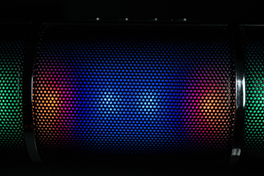 black and red color changing portable speaker