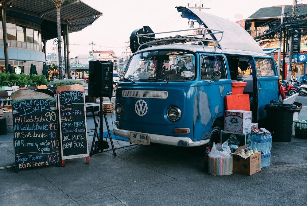 blue Volkswagen van during daytime