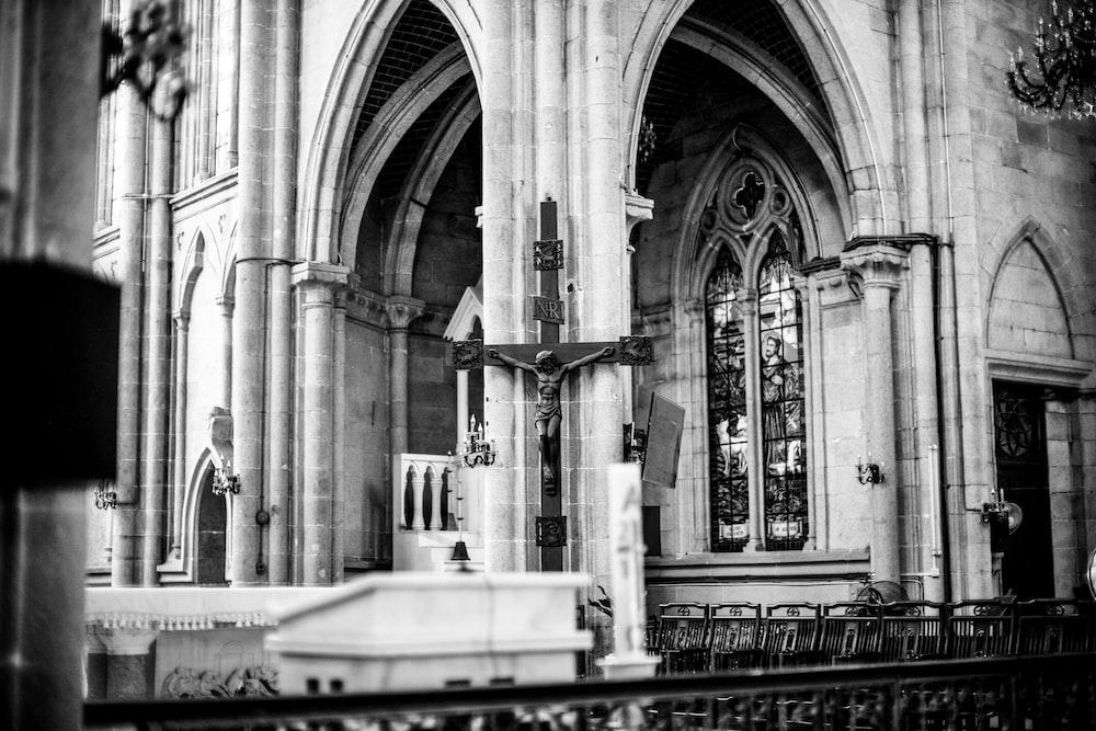 grayscale photo of concrete church