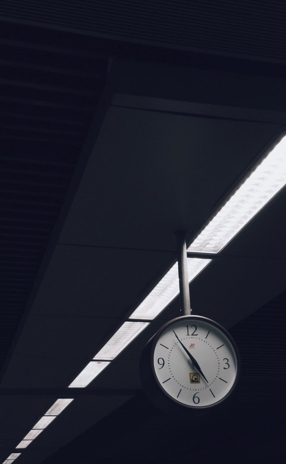 analog clock at 5:55