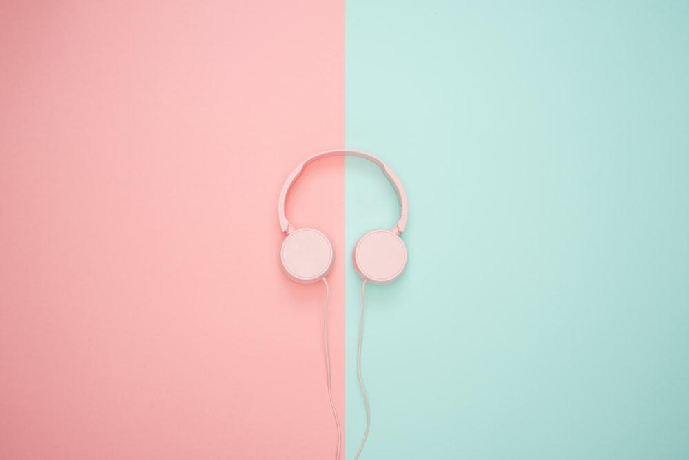 white corded headphones
