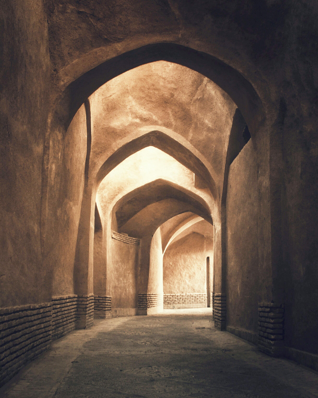 brown lit concrete pathway