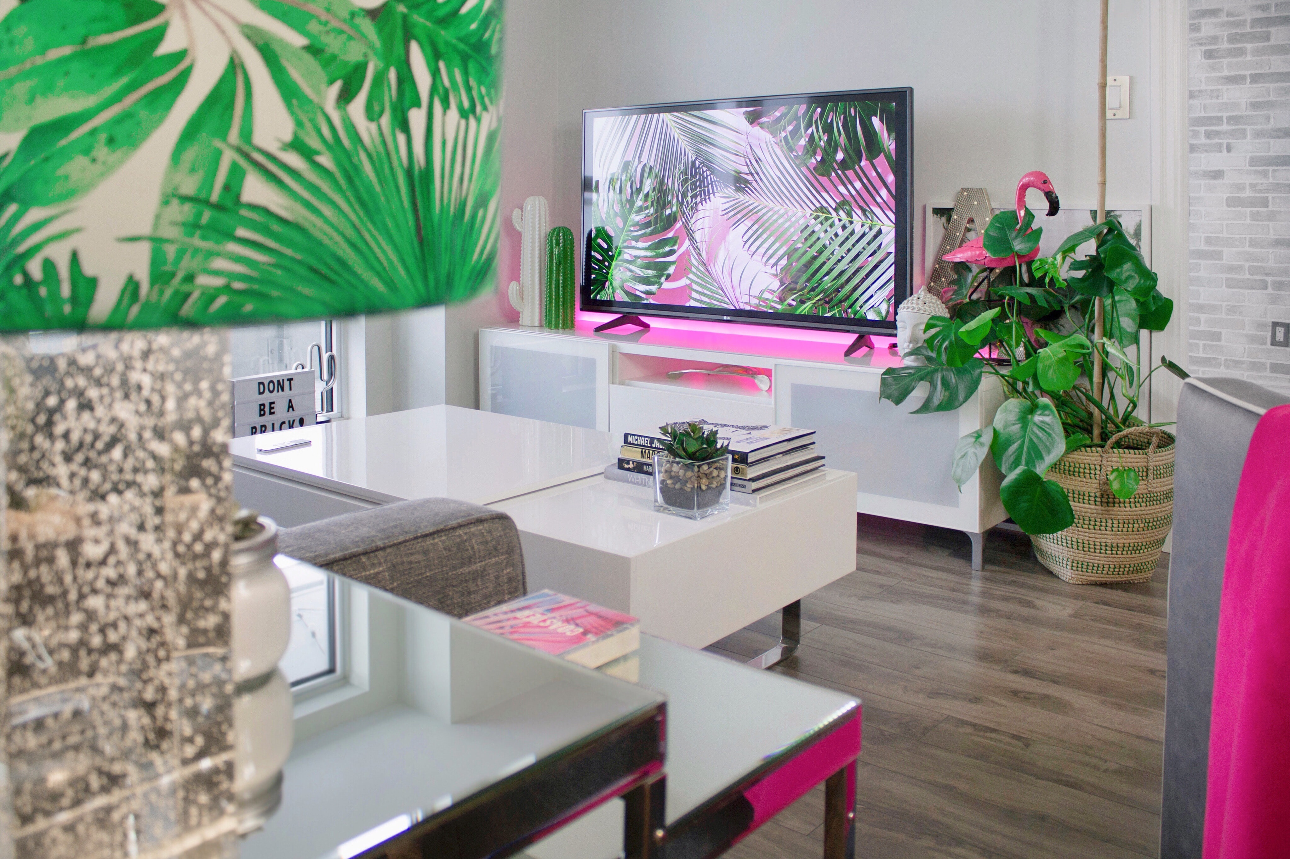 flat screen television on TV stand