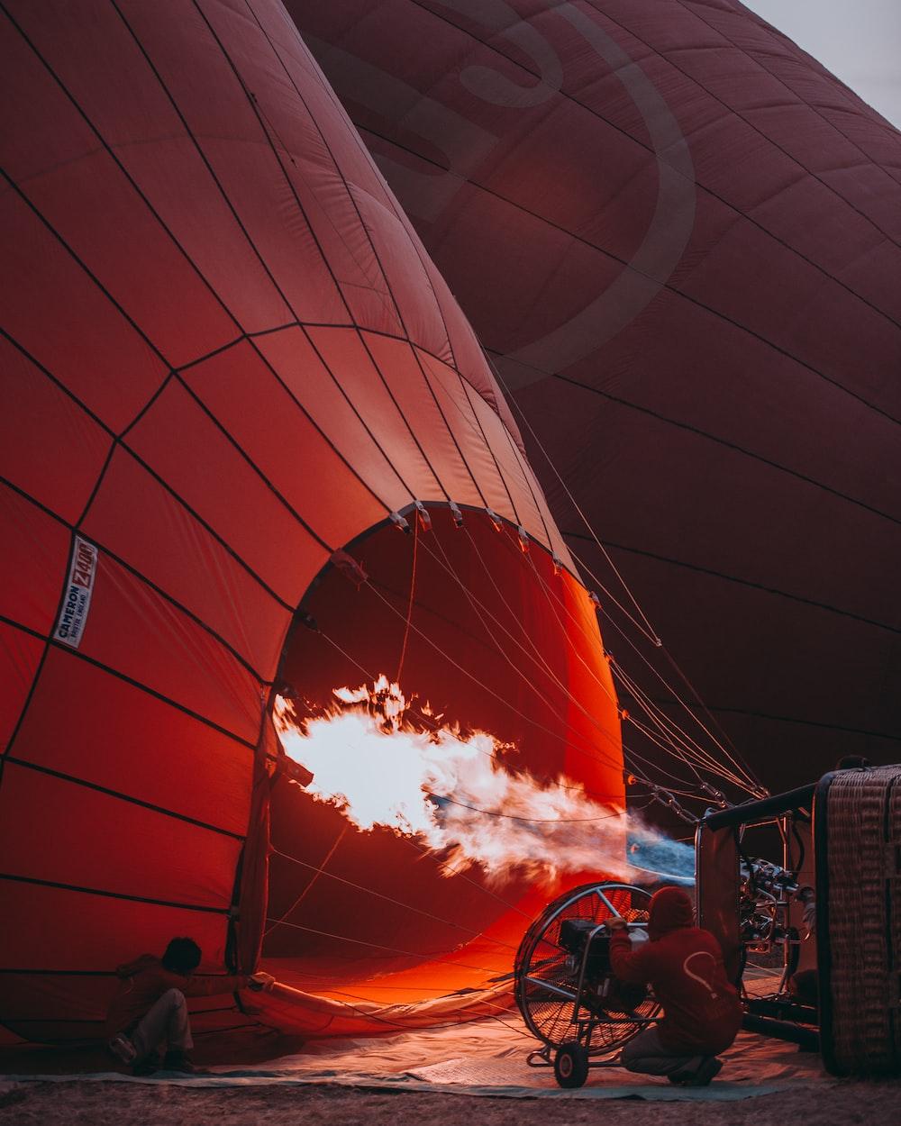 orange hot air balloon
