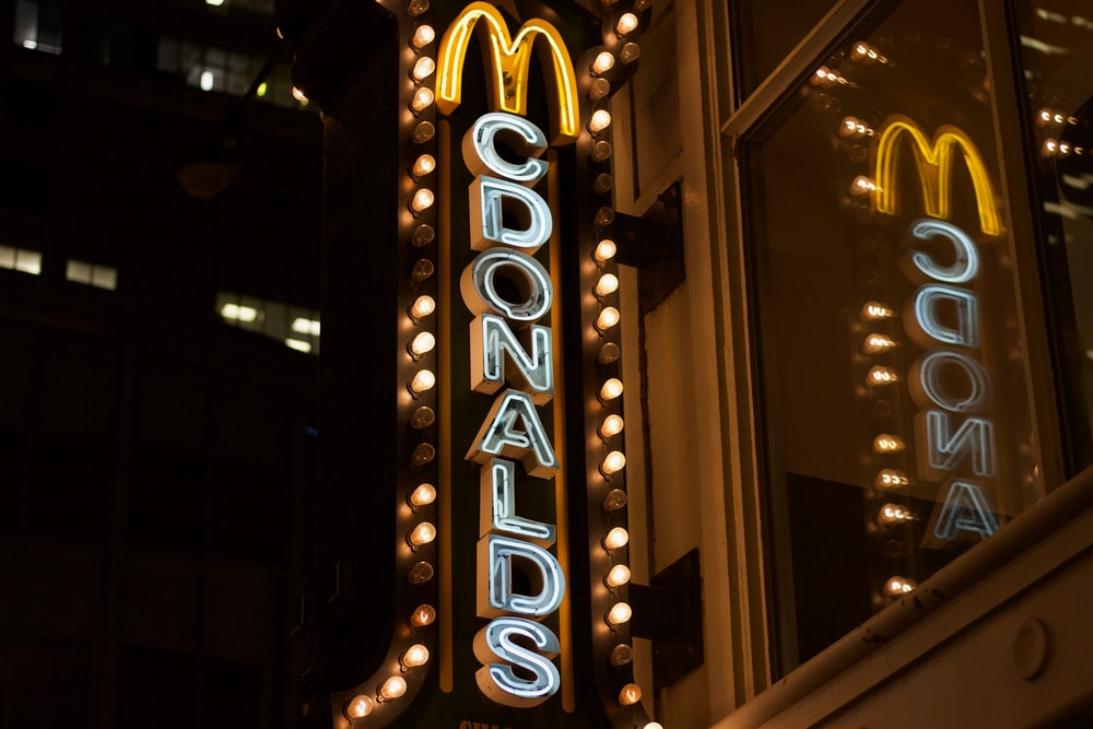 McDonalds neon light signage