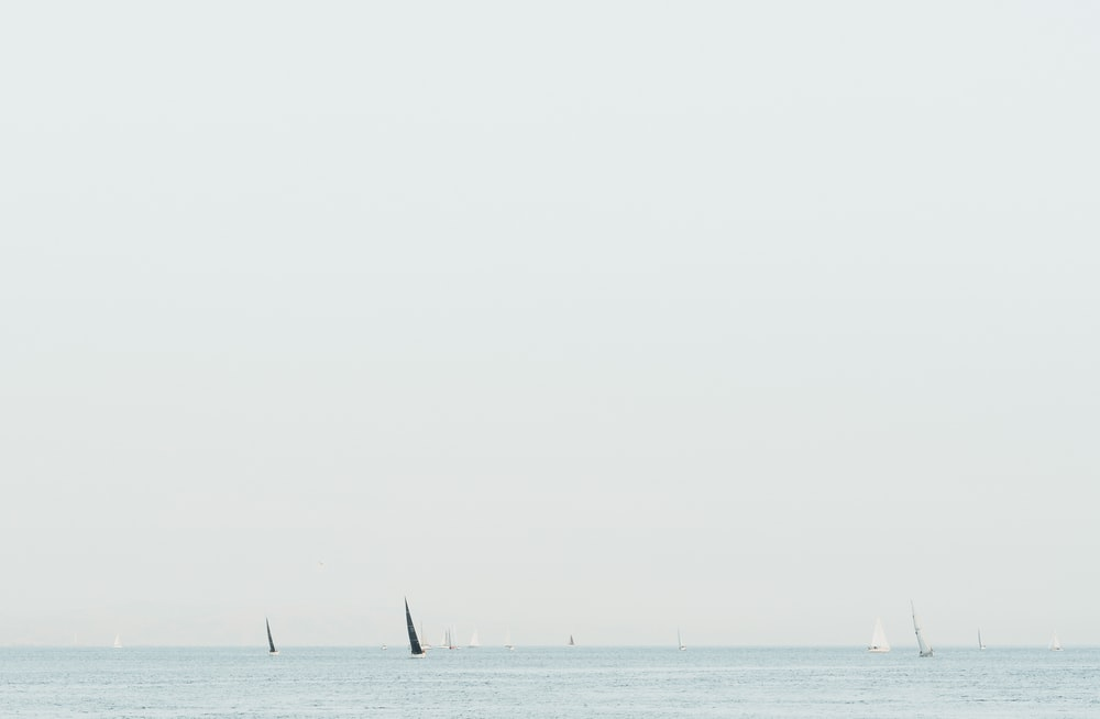 black sailboat on body of water under gray sky