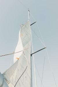 low angle photo of white sail