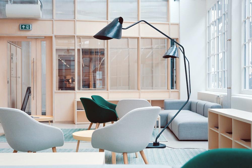 black floor lamp on living room sofa