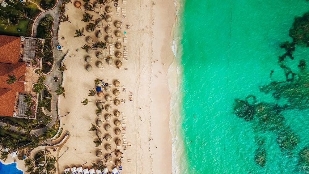 aerial view of white beach