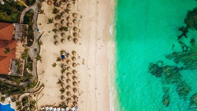 aerial view of white beach dominican republic teams background