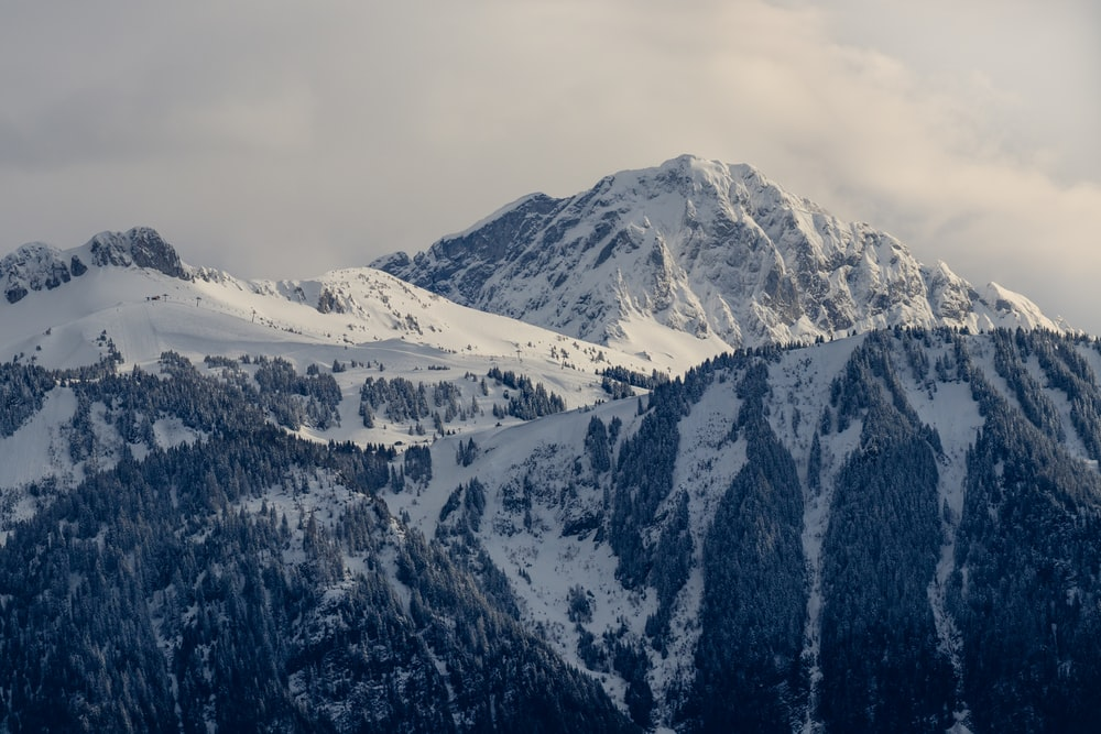snow covered mountains under cloudy skies