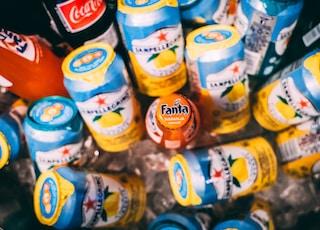 assorted beverage bottles