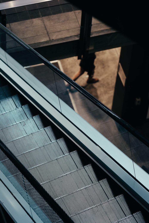 gray escalator