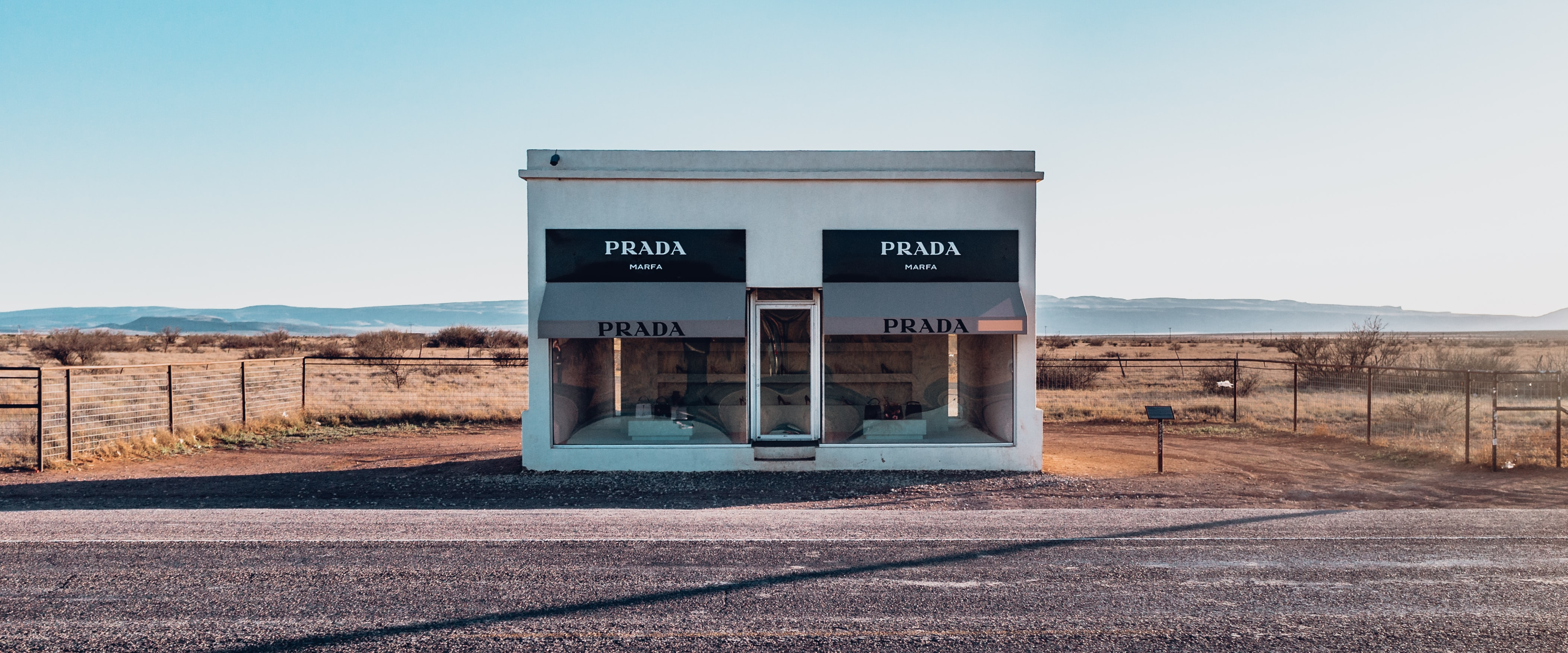 white Prada store facade beside road
