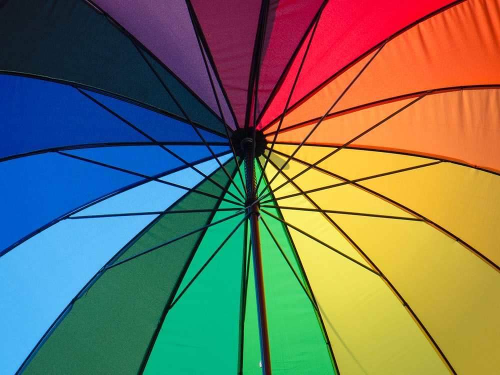 worms eye view multicolored umbrella