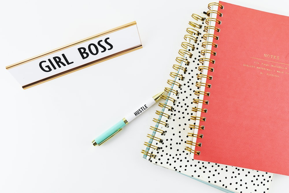 two spring notebooks beside ballpoint pen